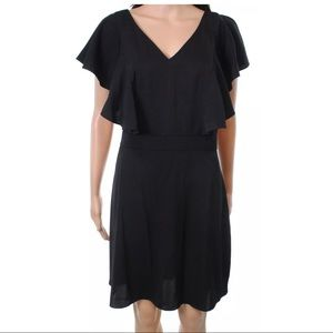 Chelsea28 Black Ruffle V-Neck Open Back Dress XS